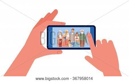 Family Photo. Hands Holding Smartphone With People Image. Selfie Vector Illustration. Family Selfie,