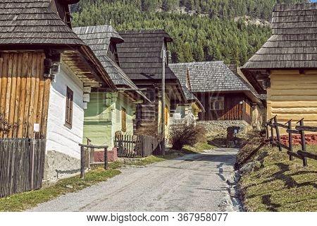 Colorful Wooden Houses In Vlkolinec Village, Slovak Republic, Unesco. Cultural Heritage. Travel Dest