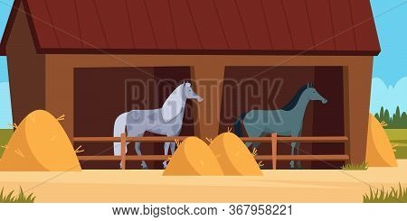 Stable For Horse. Care For Domestic Animal Strong Horses Eating Equestrian Equipment Concept Vector