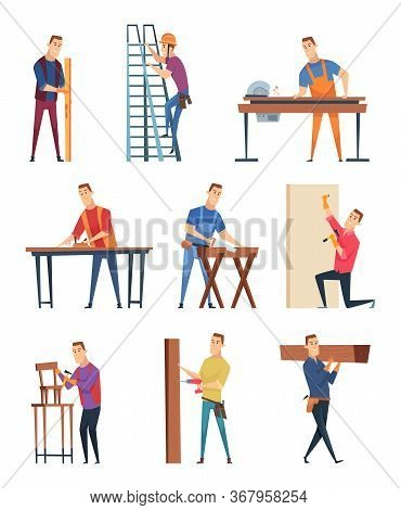 Carpenter Character. Professional Wood Workman Carpenter With Equipment Handyman Job Vector Craftsma