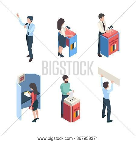 Vote Isometric. Political People Speakers Reporter Voting Campaign Politic Choice Vector Character.
