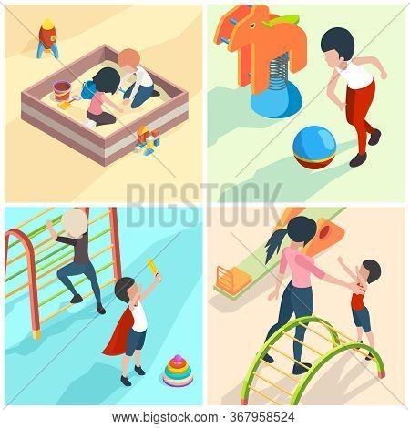 Kids Playground. Nanny Babysitter Adult Teacher In Kindergarten Playing Toys Children Preschool Equi