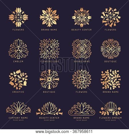 Floral Beauty Logo. Luxury Stylized Decorative Shapes Leaves Flowers Botanical Themes For Spa Salon