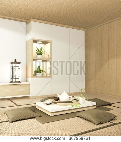 Tv Cabinet And Armchair Japanese Style On Room Ryokan Minimal Design. 3D Rendering