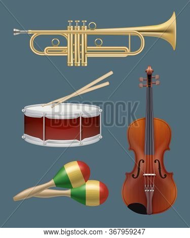 Musical Instruments. Piano Sax Guitar And Other Handy Instruments For Music Band Vector Realistic Se