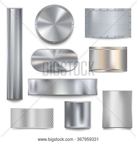 Metalized Banners. Steel Textured For Borders Frames Metallic Plaque Vector Realistic Templates. Pan
