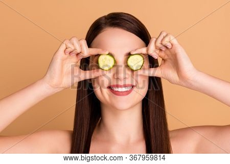 Close Up Photo Of Charming Girlish Lady Close Cove Eyes With Cucumber Slice Want Effective Natural S