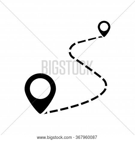 Route Location Symbol. Vector Isolated Icon. Concept Of Path Road. Black Location Or Path Vector Ico