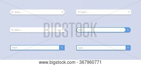 Search Bar Flat Icon Vector Set Collection. Website Search Box Image