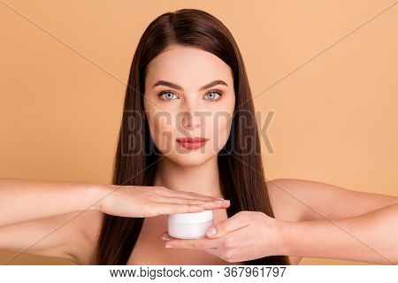 New Silky Skin Effect Ads. Close Up Photo Of Serious Confident Hold Jar With Cream Advertise Recomme