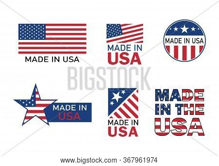 Made In Usa Icon For Product. American Flag Emblem For Guarantee Label. Manufacturing In America Sig