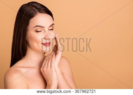 Close Up Photo Of Positive Brown Hair Lady Touch Her Cheeks Enjoy New Salon Spa Skincare Treatment T