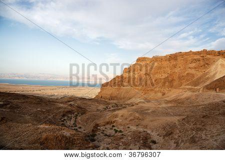 Masada Fortress On Sunset
