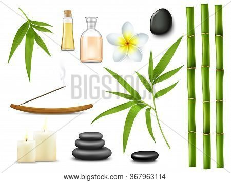 Spa And Massage Salon Relax Treatments. Isolated Vector Aromatherapy Oil, Realistic Bamboo Sticks An