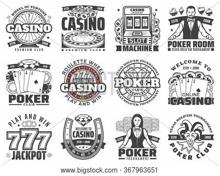 Casino Gambling Games Isolated Vector Icons Set. Poker Club Jackpot Of Lucky Seven Combinations, Slo