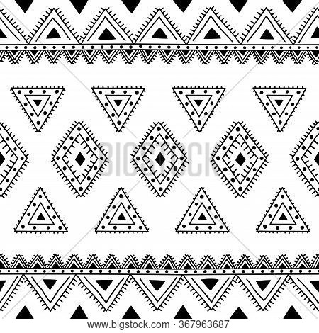 Seamless Ethnic Pattern. Handmade. Ethnic And Tribal Motifs. Black And White Print For Your Textiles