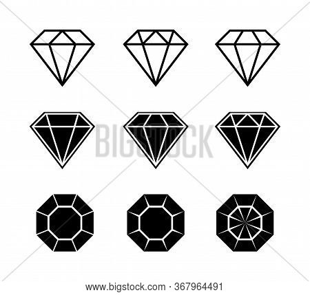 Diamond Brilliant. Vector Icon Collection. Vector Black Diamonds Collection. Linear Outline Sign. Di