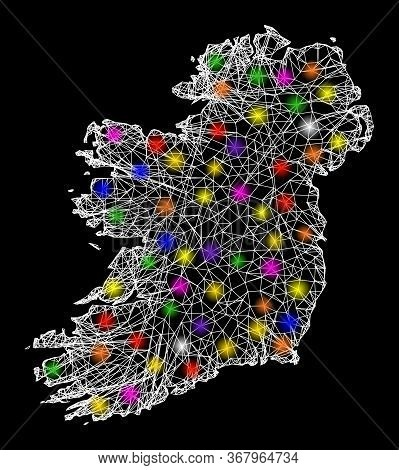 Web Mesh Vector Map Of Ireland Island With Glare Effect On A Black Background. Abstract Lines, Light