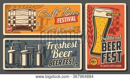 Craft Beer And Snacks Vector Posters. Glass Cup With Foamy Drink, Wooden Barrel, Malt Ears And Brewe
