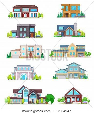 House Vector Icons Of Real Estate Buildings. Cottage Home, Villa And Bungalow, Townhouse And Mansion