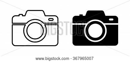 Camera Photo. Vector Isolated Icon. Digital Snapshot Image Black Vector Icons. Thin Line Vector.