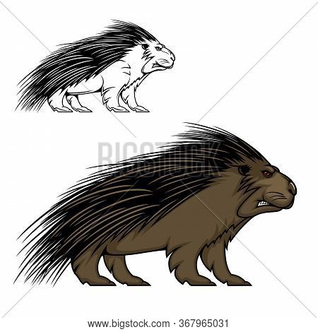Porcupine Or Hedgehog Vector Mascot Animal. Wild Forest Mammal With Sharp Spines Or Quills, Brown Fu