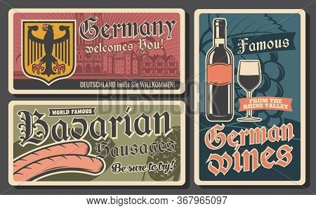 Bavarian Sausages, German Wines And Coat Of Arms With Black Eagle. Traditional German Cuisine Food,