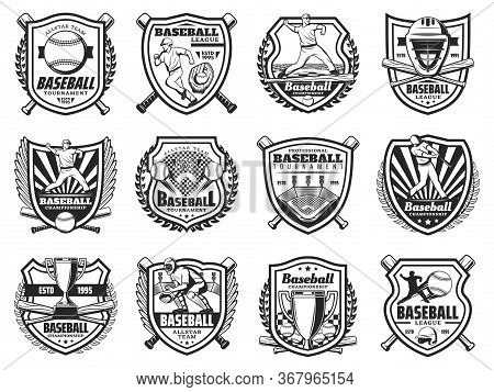 Baseball Sport And Players Vector Icons. Sports Team Club Badges Or League Tournament Monochrome Sig