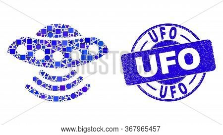 Geometric Ufo Mosaic Icon And Ufo Seal Stamp. Blue Vector Round Distress Seal Stamp With Ufo Phrase.