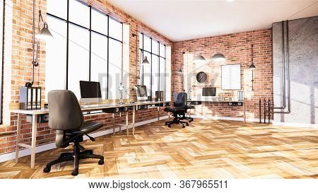Business Room  Empty Loft Style With White Brick And Concrete Wall Design Loft Style.3D Rendering
