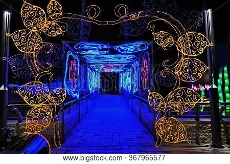 Luminous Openwork Corridor Is Decorated With Pink And Blue Flowers. At The Entrance Is A Beautiful L