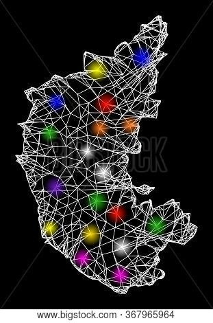 Web Mesh Vector Map Of Karnataka State With Glare Effect On A Black Background. Abstract Lines, Ligh