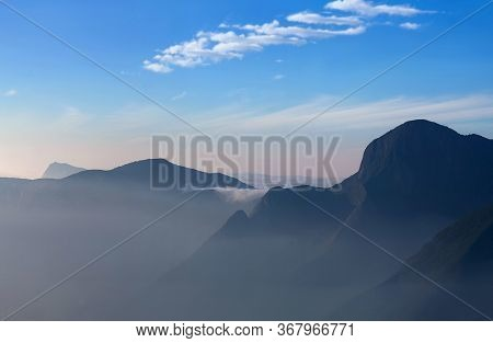 Western Ghat Range Of Mountain At Sunset From Top Station View Point Near Munnar, Kerala State, Sout