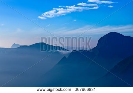 Western Ghat Range Of Mountain View On Sunrise From Top Station View Point Near Munnar, Kerala State