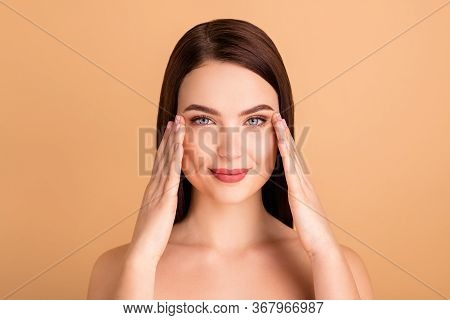 Close Up Photo Of Charming Elegant Girl Touch Her Eyes Look Mirror Enjoy Plastic Surgery Treatment T