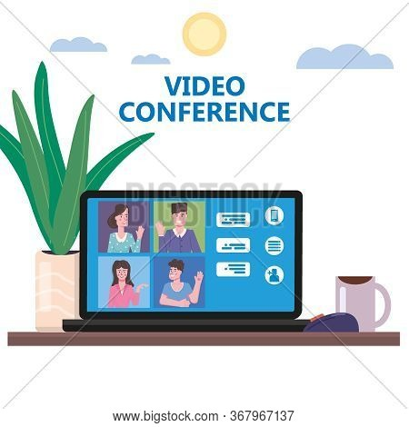 Video Conference People On Computer Screen Laptop Talking By Internet In Videocall, Chat, Ui Softwar