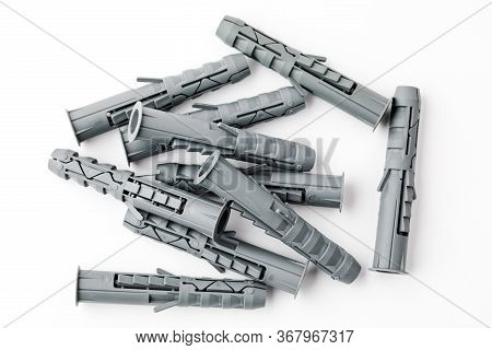 Screw Anchor Or Dowel, Grey, Isolated On A White Background.