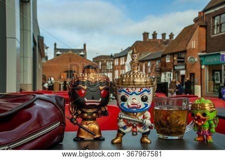Bangkok, Thailand - Jan 13, 2019 : Ravana, Giantess And Hanuman Happy Traveller Visiting In England.