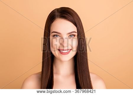 Close Up Photo Of Positive Girlish Girl Enjoy New Beauty Salon Treatment Want Be Attractive Feel Con