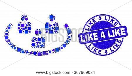 Geometric Social Ring Mosaic Pictogram And Like 4 Like Seal Stamp. Blue Vector Round Distress Seal W
