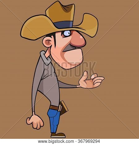 Cartoon Man In Cowboy Hat Puzzled Counts On Fingers