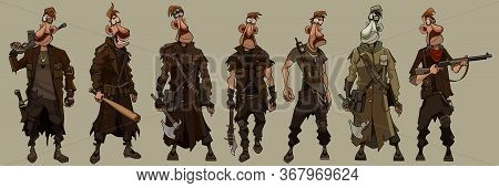 Cartoon Man In Military Uniform Post Apocalypse With Weapons In Different Clothes And Poses