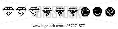 Diamond Brilliant. Vector Icon Collection. Vector Black Diamonds Collection. Linear Outline Sign. Di
