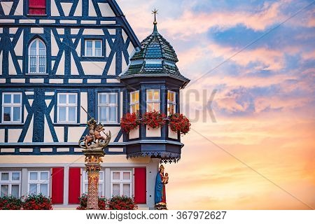 Rothenburg Ob Der Tauber City In Bavaria, Germany. Architecture Of Old German Town.