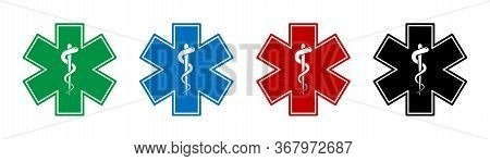 Emergency Medical Symbol. Vector Isolated Medical Signs Icons With Snake. Medical Star Symbols. Star
