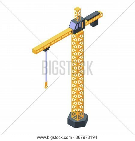 Hook Tower Crane Icon. Isometric Of Hook Tower Crane Vector Icon For Web Design Isolated On White Ba