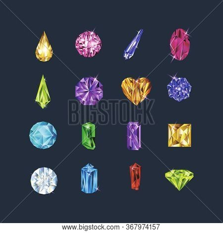 Realistic Detailed 3d Different Gems Set Include Of Brilliant, Amethyst, Topaz And Rhinestone. Vecto