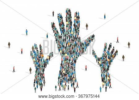 Charity And Togetherness Concept. Silhouettes Of Hands Made From People Mob On White Background, Iso