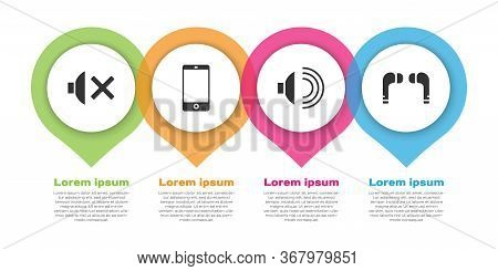 Set Speaker Mute, Smartphone, Mobile Phone, Speaker Volume And Air Headphones. Business Infographic