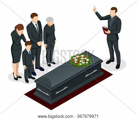 Isometric Funeral Ceremony At The Cemetery. Sad And Crying People In Black Clothes Are Standing With